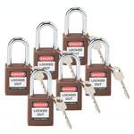 Brady Brown Nylon Steel 6-pin Keyed & Safety Padlock 118948 - 1 1/2 in Width - 1 3/4 in Height - 1/4 in Shackle Diameter - 1 Key(s) Included - 754473-66185