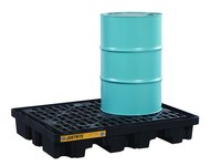Justrite Black Ecopolyblend 2500 lb 67 gal Spill Pallet - Supports 2 Drums - 55 in Width - 45 in Length - 9 in Height - 697841-13354