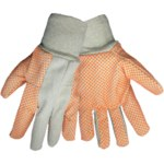 Global Glove C120D Orange/White Large Canvas/Cotton Work Gloves - Wing Thumb - PVC Dotted Palm & Fingers Coating - C120D1/LG