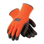 Brahma Gloves Brown/Orange Large Acrylic/Terry Cloth Cold Condition Gloves - Latex Palm & Fingers Coating - Rough Finish - WA1403A