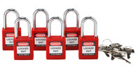 Brady Red Nylon Steel 6-pin Keyed & Safety Padlock 105890 - 1 1/2 in Width - 1 3/4 in Height - 1/4 in Shackle Diameter - 1 Key(s) Included - 754476-03435