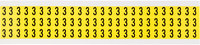 Brady 34 Series 3410-3 Black on Yellow Vinyl Cloth Number Label - Indoor - 11/32 in Width - 1/2 in Height - 3/8 in Character Height - B-498