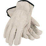 PIP 68-105 White Large Grain Cowhide Leather Driver's Gloves - Straight Thumb - 9.8 in Length - 68-105/L