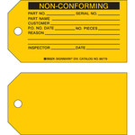 Brady 86779 Black on Yellow Cardstock Production Status Tag - 5 3/4 in Width - 3 in Height - B-853