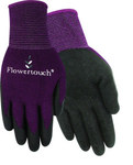 Red Steer Flowertouch A206 Purple Medium/Large Knit Work Gloves - Latex Palm Only Coating - Rough Finish - A206-M/L