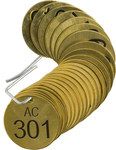 Brady 23488 Black on Brass Circle Brass Numbered Valve Tag with Header Numbered Valve Tag with Header - 1 1/2 in Dia. Width - Print Number(s) = 301 to 325 - B-907
