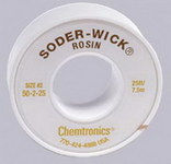 Chemtronics Soder-Wick #50 Yellow Rosin Flux Core Desoldering Braid - 25 ft Length - 0.06 in Diameter - Rosin Flux Core - 50-2-25