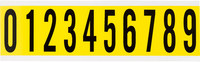 Brady 34 Series 34410 Black on Yellow Vinyl Cloth Numbers Label Kit - Indoor - 7/8 in Width - 2 1/4 in Height - 1 15/16 in Character Height
