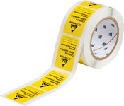 Brady SL-2 Black on Yellow Rectangle Paper Static Warning Label - 2.5 in Width - 1.812 in Height - 13901