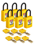 Brady SafeKey Yellow Nylon Plastic 6 pins Safety Padlock 150199 - 1 1/4 in Width - 1.65 in Height - 0.17 in Shackle Diameter - 1 Key(s) Included - 754473-61014