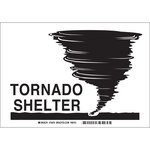 Brady B-401 Polystyrene Rectangle White Tornado Shelter Sign - 10 in Width x 7 in Height - 22560