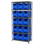 Akro-Mils AS1879 3300 lb Gray Steel 22 ga Fixed Rack - 36 in Overall Length - 16 Bins - Bins Included - AS187913014