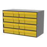 Akro-Mils Akrodrawers 120 lb Charcoal Gray Stackable Cabinet - 17 in Overall Length - 35 in Width - 22 in Height - Non-Lockable - AD3517CAST2 YELLOW