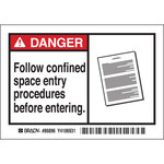 Brady 86896 Black / Red on White Rectangle Polyester Hazardous Area Label - 5 in Width - 3 1/2 in Height - B-302