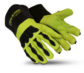 HexArmor Chrome Series Chrome Series Black/High-Vis 9 Goatskin Leather/SuperFabric Cut and Sewn Welding & Heat-Resistant Gloves - ANSI A8 Cut Resistance - 4084-L (9)