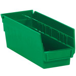 Green Shelf Bins - 11.625 in x 4.125 in x 4 in - SHP-3097