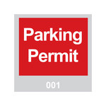 Brady 95200 Red / White on Gray Square Vinyl Parking Permit Label - 3 in Width - 3 in Height - Print Number(s) = 001 to 100