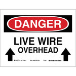 Brady B-401 Polystyrene Rectangle White Overhead Power Lines Sign - 10 in Width x 7 in Height - 25556