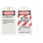 Brady 65451 Black / Red on White Cardstock Lockout / Tagout Tag - 3 in Width - 5 3/4 in Height - B-853