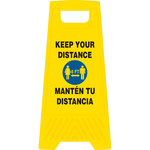 Brady Triangle Yellow Heavy Duty Floor Stand - 12 in Width x 24 in Height - Language English / Spanish - 170342