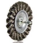 Dynabrade Steel Wheel Brush 0.02 in Bristle Diameter - Shank Attachment - 3 1/4 in Outside Diameter - 78879