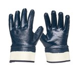 Armor Guys Duty 06-005 Blue/White Large Interlock Work Gloves - Nitrile Full Coverage Except Cuff Coating - 06-005-L