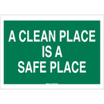 Brady B-555 Aluminum Rectangle Green Keep Clean Sign - 10 in Width x 7 in Height - 42350