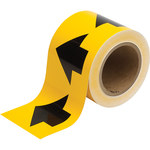 Brady 91287 Black on Yellow Directional Flow Arrow Tape - 4 in Width - 30 yd Length - B-946