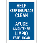 Brady B-555 Aluminum Rectangle Blue Keep Clean Sign - 10 in Width x 14 in Height - Language English / Spanish - 38349