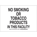 Brady B-555 Aluminum Rectangle White No Smoking Sign - 10 in Width x 7 in Height - 128028