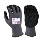 Armor Guys ExtraFlex HCT 04-007 Gray/Black Large Nylon Work Gloves - Nitrile Foam Dotted Palm & Fingers Coating - 04-007-L