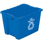 Shipping Supply 14 gal Blue Plastic Recycling Containers - 14 3/4 in Height - 13749