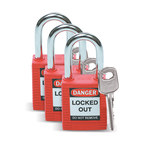 Brady Red Nylon Steel 6-pin Keyed & Safety Padlock 105886 - 1 1/2 in Width - 1 3/4 in Height - 1/4 in Shackle Diameter - 1 Key(s) Included - 754476-03431