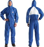 3M 4530 Blue Large SMMS Polypropylene Disposable General Purpose & Work Coveralls - Fits 39 to 43 in Chest - 051131-49801
