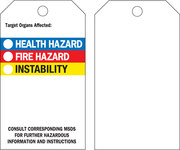 Brady 76236 Black / Blue / Red / Yellow on White Polyester Chemical Hazard Tag - 3 in Width - 5 3/4 in Height - B-851, B-674