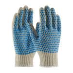 PIP 37-C110BB Blue/White Large Cotton/Polyester General Purpose Gloves - PVC Brick Pattern Both Sides Coating - 10 in Length - 37-C110BB/L