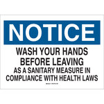 Brady B-555 Aluminum Rectangle White Personal Hygiene Sign - 10 in Width x 7 in Height - 42728