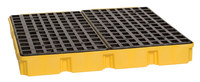 Eagle Yellow/Black High Density Polyethylene 10000 lb 60 1/2 in Spill Pallet - Supports 4 Drums - 51 1/2 in Width - 52 1/2 in Length - 6 1/2 in Height - 048441-00488