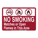 Brady B-555 Aluminum Rectangle No Smoking Sign - 14 in Width x 10 in Height - 36091
