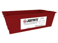 Justrite Red High Density Polyethylene 14 L Basin - 11 in Width - 18 in Length - 6 in Height - 697841-18214