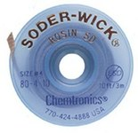 Chemtronics Soder-Wick #4 Blue Rosin Flux Coating Desoldering Braid - 10 ft Length - 0.11 in Diameter - Rosin Flux Core - 80-4-10