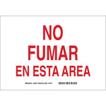 Brady B-401 High Impact Polystyrene Rectangle White No Smoking Sign - 14 in Width x 10 in Height - Language Spanish - 38978