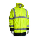 PIP 343-1755-YEL Black/Yellow Large Polyester Cold Condition Coat - 3 Pockets - Detachable Hood - Fits 55.5 in Chest - Polyester Insulation - 35.4 in Length - 616314-61110