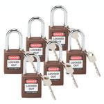 Brady Brown Fiberglass Reinforced Nylon Steel 6-pin Keyed & Safety Padlock 101956 - 1 1/2 in Width - 1 3/4 in Height - 1/4 in Shackle Diameter - 1 Key(s) Included - 754473-00879