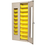 Akro-Mils 1000 lb Gray Yellow Steel 18 ga Non-Stackable Bin Cabinet - 18 in Overall Length - 36 in Width - 78 in Height - 18 Drawer - 18 Bins - Lockable - AC3618QV250