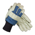 PIP 78-3927 Blue/Green/White Large Pigskin Leather Cold Condition Gloves - Straight Thumb - 10.6 in Length - Thinsulate Insulation - 78-3927/L