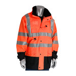 PIP 343-1756OR Black/Orange Large Polyester Cold Condition Coat, Jacket, Vest - 11 Pockets - Rollaway Hood - Fits 55.5 in Chest - Polyester Insulation - 35 in Length - 616314-82146