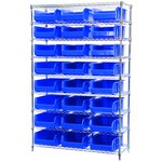 Akro-Mils Akrobin 2000 lb Adjustable Blue Chrome Steel Open Adjustable Fixed Shelving System - 24 Bins - 2000 lb Total Capacity - AWS184830280 BLUE