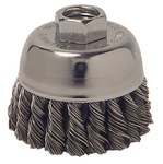 Weiler Carbon Steel Cup Brush - Threaded Arbor Attachment - 3 in Diameter - 5/8-11 Center Hole - 0.02 in Bristle Diameter - Package Type: Display - 36038