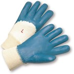 West Chester 4050 Blue Large Cotton Work Gloves - Nitrile Palm Only Coating - 10.13 in Length - Smooth Finish - 4050/L